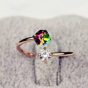 HP🌸Rose gold Multicolor Crystal Cube Ring